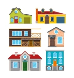 Cottage house flat icons vector image vector image
