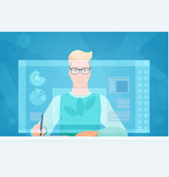 designer man working using virtual media interface vector image vector image