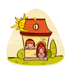 llittle house with kids vector image vector image