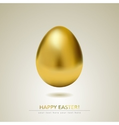 Realistic golden egg isolated on white background vector image vector image