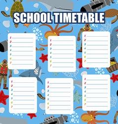 School timetable Schedule Back to school vector image vector image
