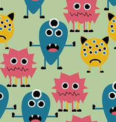 Seamless Pattern with Cute Funny Monsters vector image