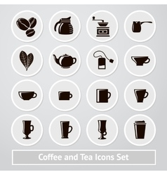 set of coffee and tea icons for shops vector image vector image