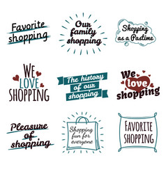 shopping label logotypes collection on white vector image vector image