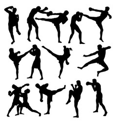 Thai Boxing Sport Activity Silhouettes vector image vector image