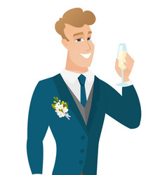 Young caucasian groom holding glass of champagne vector