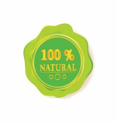 100 Natural Sign label template vector image