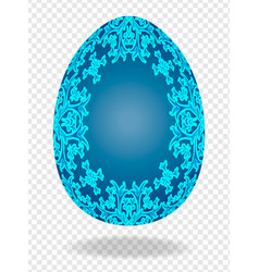 3d blue painted easter egg with a pattern of vector image