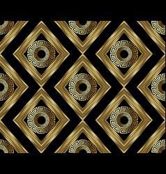 3d greek key meander gold seamless pattern vector
