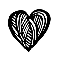 Artistic symbol of a heart Black and white heart L vector image