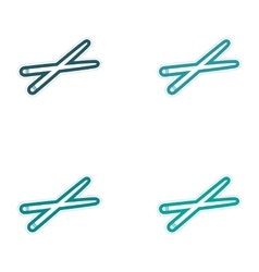 Assembly sticker bright chopsticks for sushi on vector