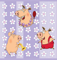 background with pigs seamless pattern vector image