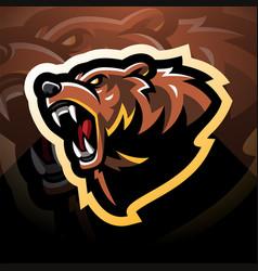 bear head mascot logo vector image