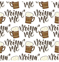 Beer mugs seamless pattern october fest vector