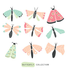 big colorful hand drawn doodle set - butterflies vector image