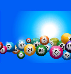 Bingo balls floating over blue sunny sky vector