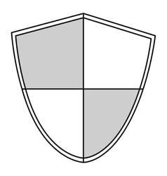 black line shield vector image