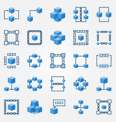 Blockchain blue icons set - block chain vector