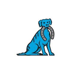Blue merle dog sitting biting horseshoe retro vector
