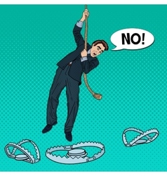 Business man on rope falls into trap vector
