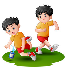 Cartoon boy kicking others vector