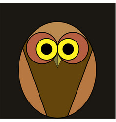cartoon owl of brown color on a black background vector image