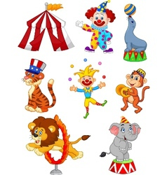 Cartoon Set of Cute Circus themed vector