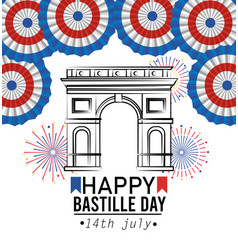 Champs elyses with france decoration and fireworks vector