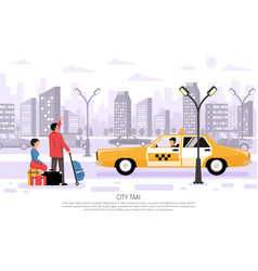 city taxi transport poster vector image