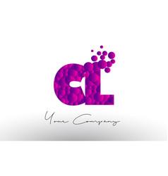 Cl c l dots letter logo with purple bubbles vector