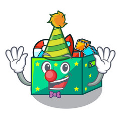 Clown children toy boxes isolated on mascot vector