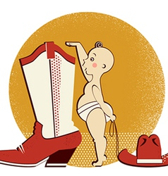 Cowboy baby and boot vector image