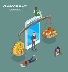 cryptocurrency exchange flat isometric vector image