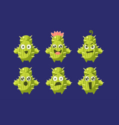 cute cactus characters set funny emojis plants vector image