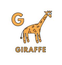 cute cartoon animals alphabet giraffe vector image