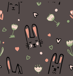 Cute cartoon baby rabbit or bunny and flowers vector