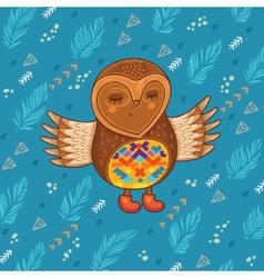 Cute cartoon owl flying in the sky vector