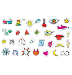 cute colorful modern patch set fashion patches vector image