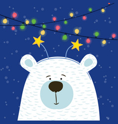 cute hand drawn polar bear with hoop head vector image