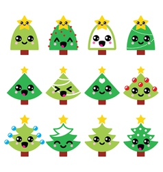 Cute Kawaii Christmas green tree with star vector image