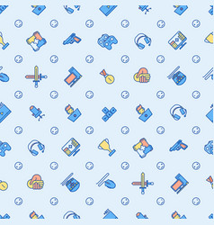 Cybersport seamless pattern with thin line icons vector