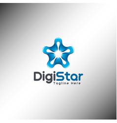 digital star logo template vector image