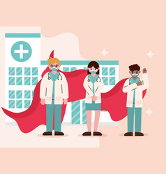 Doctor hero physicians staff with cape care vector