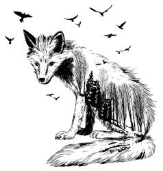 Double exposure fox vector