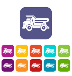 Dump truck icons set flat vector
