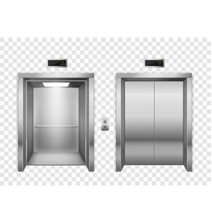 Elevator open and closed chrome metal elevator vector