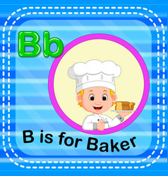 Flashcard letter b is for baker vector