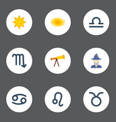 Flat icons lion optics augur and other vector