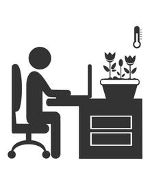 Flat office spring icon isolated on white vector image