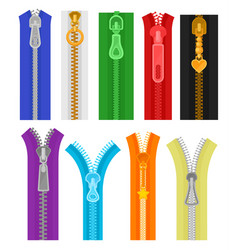 flat set of colorful zippers for clothes vector image
